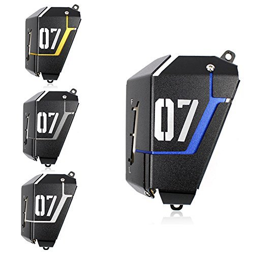Price comparison product image FATExpress Motorcycle Radiator Water Coolant Reservoir Tank Guard Cover for 2013-2016 Yamaha FZ-07 MT-07 FZ07 MT07 FZ MT 07 2014 2015 13-16 (Titanium)