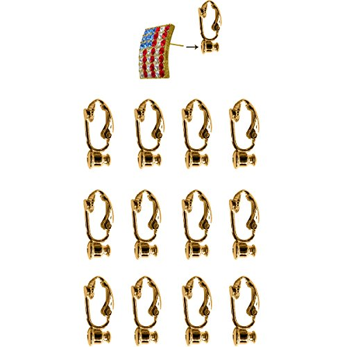 Evelots 12 Piece Gold Clip-On Earring Converter Turn Any Post/Stud Into Clip-On (Clip Earring Converter)
