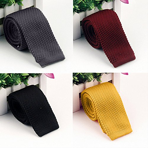 Knit Knitted Men's Woven Tie Fashion Tie Yellow Skinny Pointed Binglinghua Slim HfOWw