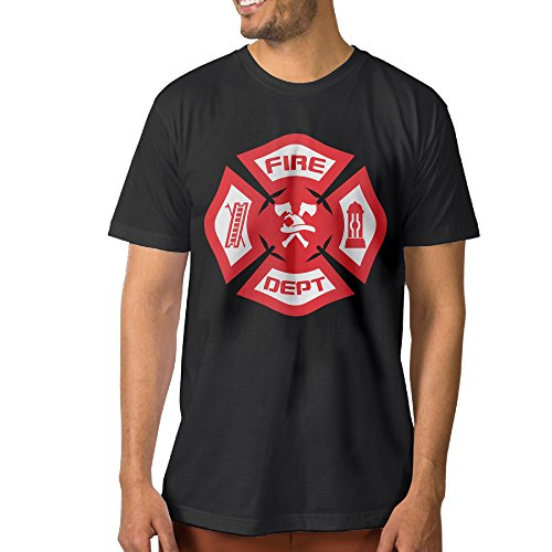 ^GinaR^ Men's Firefighter Rescue Symbol Comfortable Short Sleeve L Black (Rescue One Cds Harness compare prices)