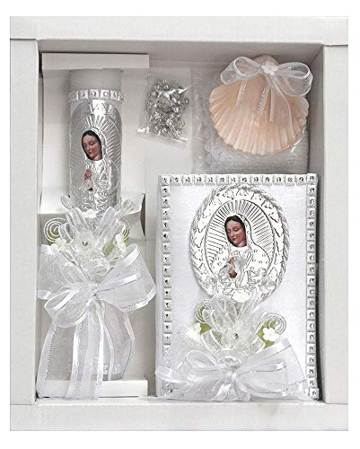 (Virgin Mary Baptism Candle Set w/Spanish New Testament)