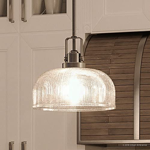Luxury Industrial Chic Pendant Light, Small Size 9 H x 10.5 W, with Modern Famrhouse Style Elements, Aged Nickel Finish and Prismatic Shade, UHP2051 from The Harlow Collection by Urban Ambiance