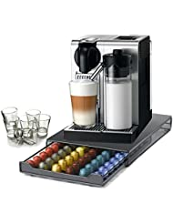 DeLonghi Nespresso Lattissima Pro Stainless Steel Capsule Machine With 60 Capsule Storage Drawer And Free Set Of 6 Italian Espresso Shot Glasses