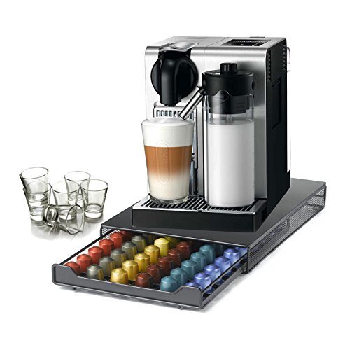 DeLonghi Nespresso Lattissima Pro Stainless Steel Capsule Machine with 60 Capsule Storage Drawer and Free Set of 6 Italian Espresso Shot Glasses (Lattissima Nespresso Pro Delonghi)