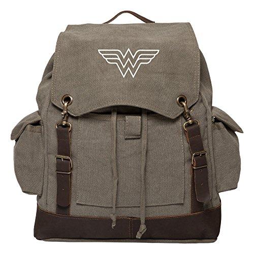 Wonder Woman Symbol Vintage Canvas Rucksack Backpack w/Leather Straps Olive & Wh