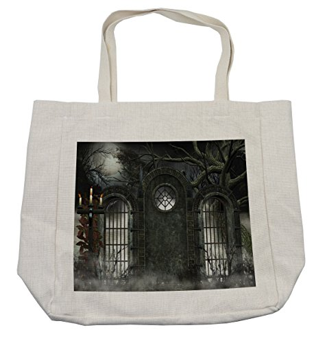 Lunarable Horror House Shopping Bag, Moon Halloween Ancient Historical Gate Gothic Background Candles Fiction View Print, Eco-Friendly Reusable Bag for Groceries Beach Travel School & More, Cream]()