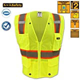 KwikSafety Ultra Cool Mesh Safety Vest | Reflective High Shine Hi Viz Caution Hazard | Landscaping Construction Emergency Demolition Surveyor | Class 2 ANSI for Men and Women | Yellow 4XL/5XL