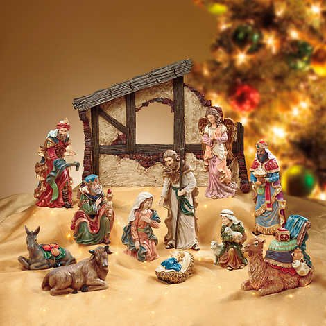 Kirkland Signature 13 Pieces 17 Inches Hand-Painted Polyresin Stone Powdered Table Top Nativity Set with Holy Family, Three Wise Men and Crèche by Kirkland