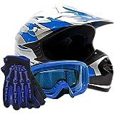 Youth Offroad Gear Combo Helmet Gloves Goggles DOT Motocross ATV Dirt Bike MX Motorcycle Blue - XL