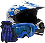 Youth Offroad Gear Combo Helmet Gloves Goggles DOT Motocross ATV Dirt Bike MX Motorcycle Blue - Small