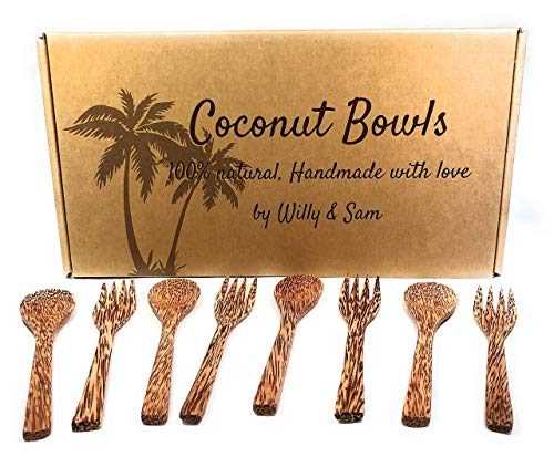 Coconut Bowl, spoon and fork 100% natural. Includes 4 Coconut Bowls, 4 Spoons and 4 Forks | Handmade with love | Ideal for making organic Breakfast, Smoothie, Salad or Buddha Bowl. Perfect Gift by Willy et Sam (Image #2)
