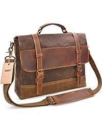 Mens Messenger Bag Waterproof Canvas Leather Computer Laptop Bag 15.6 Inch Briefcase Case Vintage Retro Waxed Canvas Genuine Leather Large Satchel Shoulder Bag College Brown