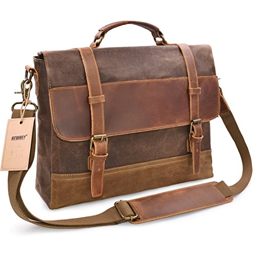 (NEWHEY Mens Messenger Bag Waterproof Canvas Leather Computer Laptop Bag 15.6 Inch Briefcase Case Vintage Retro Waxed Canvas Genuine Leather Large Satchel Shoulder Bag College Brown)