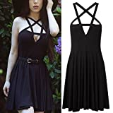 Wpcheng Fashion Women Dress Gothic Vintage Romantic Casual Dress Without Belt Black S