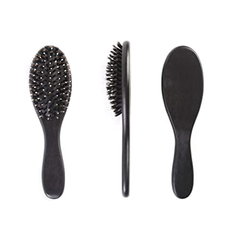 Boar Hair Brush With Bristle Add Nylon Pins for Women Men Girl Kid Wooden Paddle Oval Massage Benefit for Long Curly Thick Thin Wet Dry Straight Detangle Frizzy Fine Natural Hair Caring Styling Tool