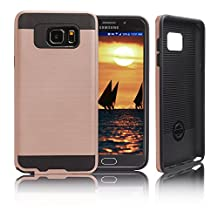 Samsung Galaxy Note 5 Case, [Dual Layer: Thin Silicone Interior + Heavy Duty Solid PC Back] Slim and Lightweight Case with Scratch Resistant Brushed Surface