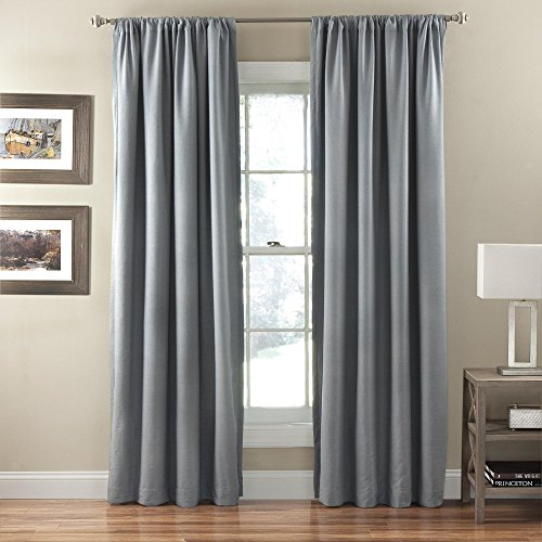 Eclipse Corsica Crushed Microfiber Blackout Window Curtain Panel, 50 by 84-Inch, Smokey Blue