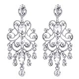 BriLove Silver-Tone Dangle Earrings for Women Vintage Style Bridal Crystal Drop Hollow Filigree Chandelier Earrings Clear