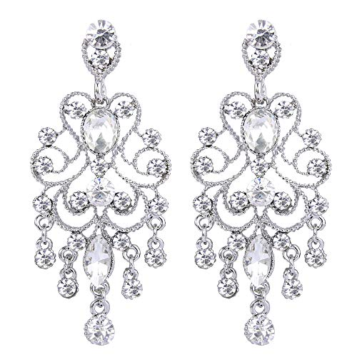 BriLove Silver-Tone Dangle Earrings for Women Vintage Style Bridal Crystal Drop Hollow Filigree Chandelier Earrings Clear by BriLove