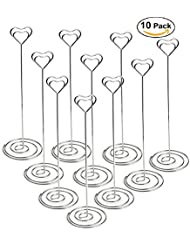 jofefe 10pcs 86 inch tall place card holders heart shape table number holder stands picture photo