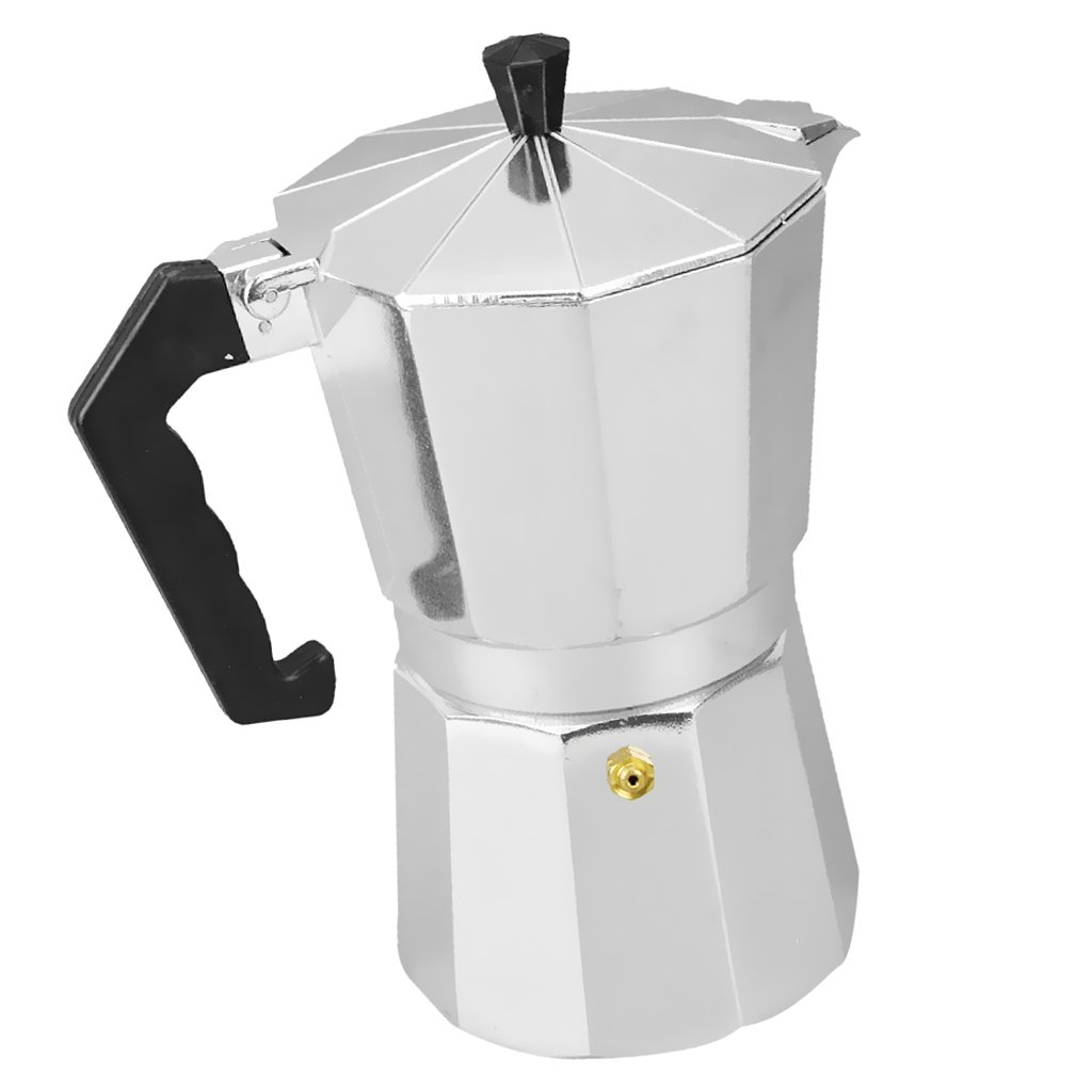 MagiDeal Aluminum 3/6/9/12 Cups Coffee Moka Maker Pot Top Expresso Top Latte Kitchen Stove Percolator - Silver, 12 Cups