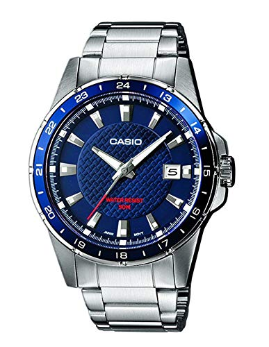Silver Edifice Dress Watch - Casio Mtp-1290D-2Avef Men's Analog Quartz Watch With Blue Dial, Steel Bracelet And Date Indicator