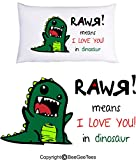 ''RAWR means I LOVE YOU in dinosaur'' Pillowcase - Valentines Day Gift by BeeGeeTees® (1 Queen Pillowcase)