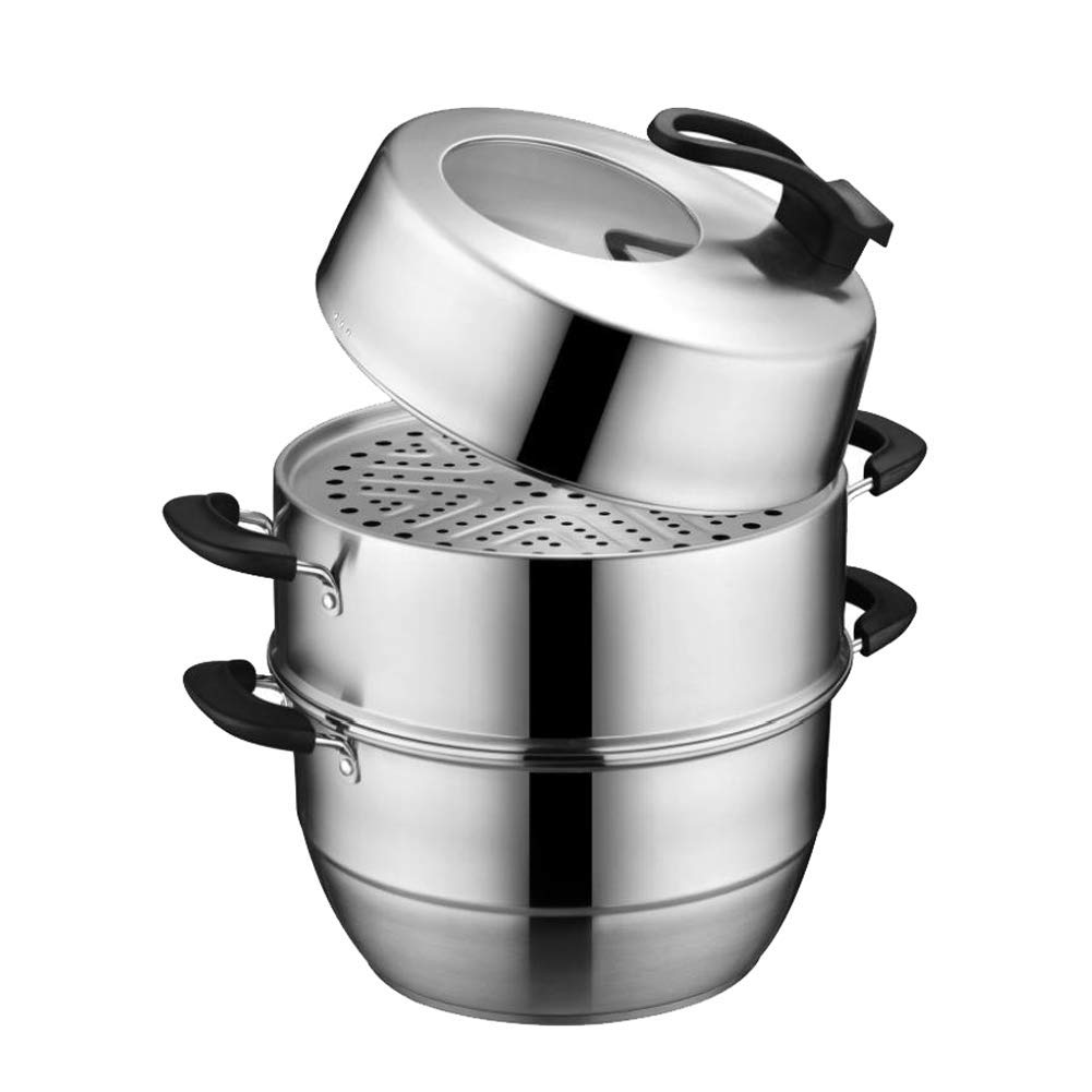 Stainless steel vegetable food steam pot set, 3-stage steamer, keep cooling handle, multi-function energy-saving steamer,stockpot-30CM