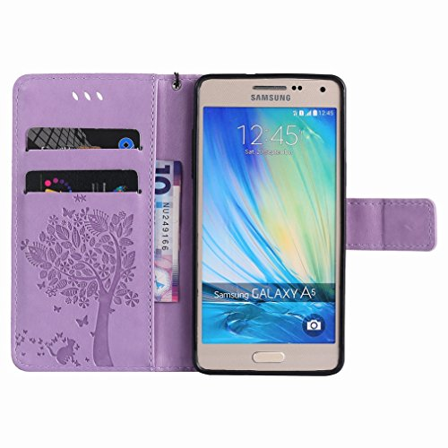 Yiizy Samsung Galaxy A5 / A500F Custodia Cover, Albero e Gatti Goffratura Design Sottile Flip Portafoglio PU Pelle Cuoio Copertura Shell Case Slot Schede Cavalletto Stile Libro Bumper Protettivo Borsa
