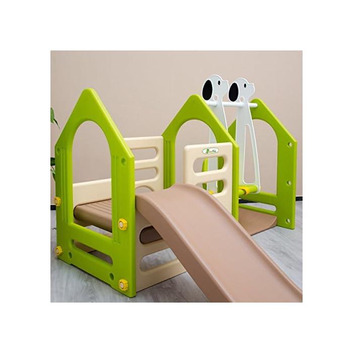 51GMNk8M7lL RECREO: la casa de juegos de LittleTom consiste en un tobogán, un columpio y dos paredes de escalada. Los colores neutros son adecuados para niños y niñas de edad comprendida entre 1 y los 4 años PARA EL JARDÍN Y EL INTERIOR: nuestro centro de actividades de plástico duradero puede ser colocado en la sala de juegos, guardería, dormitorio, sala de estar o incluso permanecer unos días en el jardín, terraza, balcón - es resistente a la intemperie ALTA CALIDAD: Medidas generales: aprox. 135x155x104cm, Tobogán: aprox. 92x29cm, Asiento del columpio aprox. 18x30cm, Peso soportado: max. 30kg, Material: plástico (fácil de limpiar con un paño húmedo). El tobogán puede montarse a derecha o izquierda