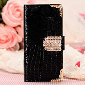 Shining Crystal Flip Wallet luxury PU leather case cover skin for iPhone 5 5G (Black)