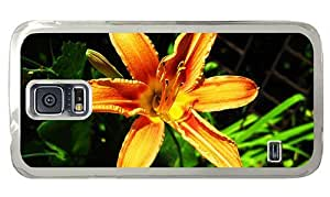 Hipster Samsung Galaxy S5 Case spec covers orange lilies PC Transparent for Samsung S5