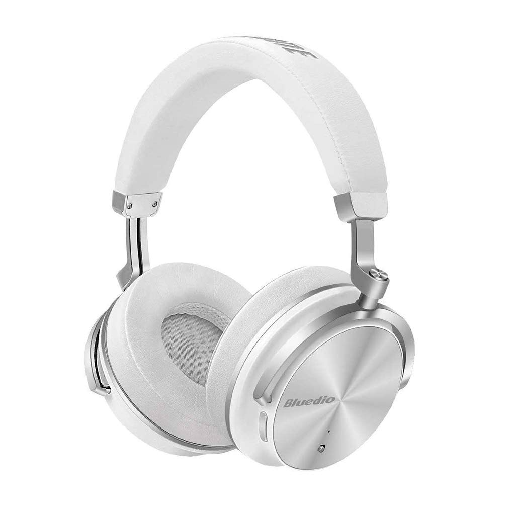 Bluedio T4 Active Noise Cancelling Wireless Headphones Over Ear with Mic, 57mm Driver Folding Bluetooth Headphones, Wired and Wireless Headphones for Cell Phone/TV/PC Gift (White T4 Superior)
