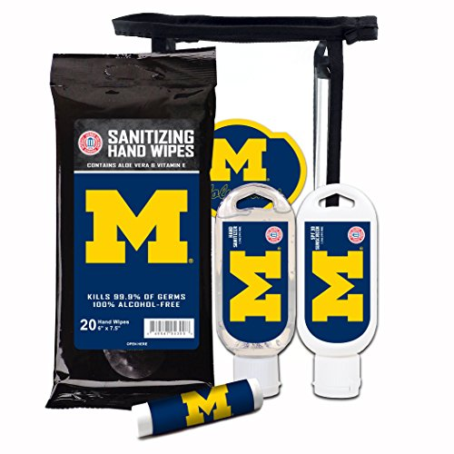 - Worthy Promotional NCAA Michigan Wolverines 4-Piece Premium Gift Set with SPF 15 Lip Balm, Sanitizer, Wipes, Sunscreen