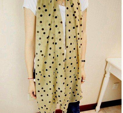 [Dealzip Inc Elegant Women's Khaki Polka Dots Pattern Chiffon Infinity Loop Scarf Muffler] (Elegant Khaki)