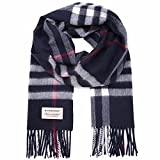 Burberry Men's Women's Navy Heritage Check Cashmere Scarf