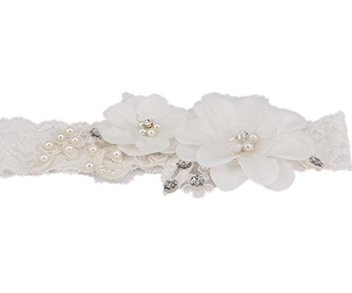 TRLYC Pearl And Crystal Garter Bridal Wedding Lace Garter