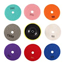 Nixikoo® Diamond Wet Dry Polishing Pads Disc Set Kit for Granite Marble Concrete Stone Buffing Polishing,4 inch ,Pack of 9,Includes 8 Grinding Discs(#50/100/300/500/800/1500/2000/3000)and 1 Sticky