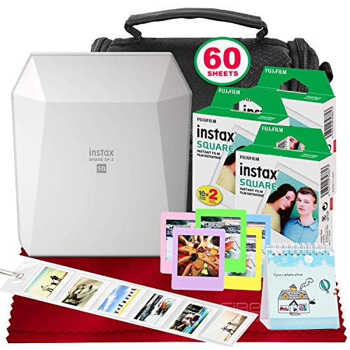 (Fujifilm Instax Share SP-3 Smartphone Printer (White) with 60 Sheets of Instant Square Film with Platinum Bundle (USA)