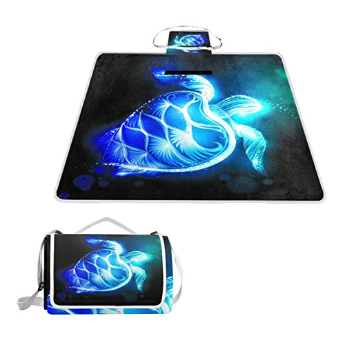 Naanle Watercolor Abstract Turtle Waterproof Outdoor Picnic Blanket Sandyproof Camping Beach Handy Mat by Naanle