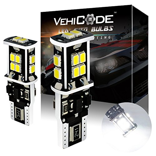 VehiCode Super Bright 900 Lumens 194 168 W5W 2825 T10 Wedge (6000K White) LED Light Bulb - High Power 14 SMD-3020 CanBus Error Free for Map, Dome, License Plate, Side Marker Lights (2 Pack) ()