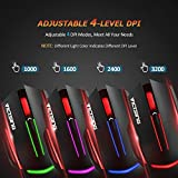 VicTsing 6-Button Wired Gaming Mouse with Colorful LED Backlit, Adjustable 3200 DPI Level (3200,2400 1600 1000), Suitable for both Office and Gaming, Compatible with PC, Mac and Laptop