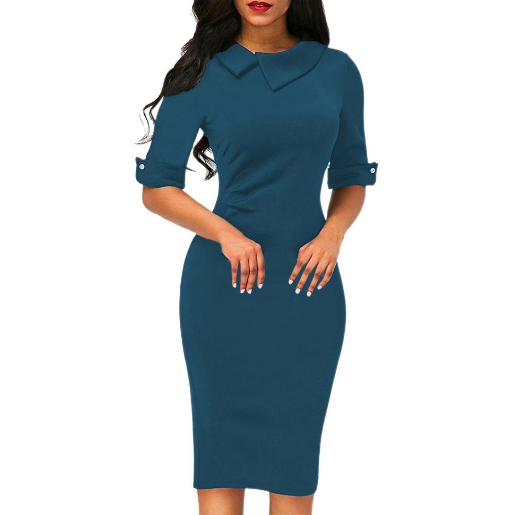 Summer Dress Petticoat, Hot Clearance Sale Manadlian® Women Retro Bodycon Below Knee Formal Office Dress Pencil Dress With Back Zipper (Size L= UK S/M, Wine Red) Kword