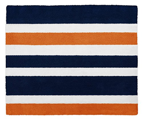 Navy Blue, Orange and White Accent Floor Rug for Stripe Kids Teen Bedding Collection (Orange Rug Kids)