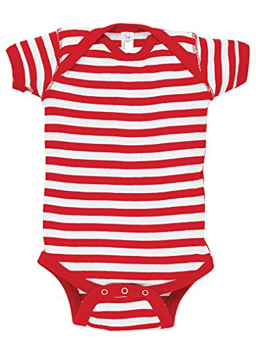 Rabbit Skins 100% Cotton Infant Baby Rib Bodysuit [Size 24 Months] Red/ White Stripes Short Sleeve Onesie (Toddler Rib)