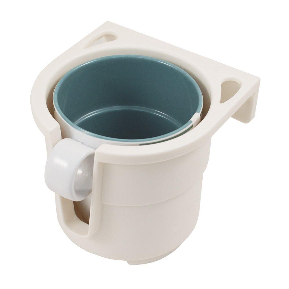 Lalizas - Getränke-Halterung für | Flaschen | Dosen | bis max. 9 cm Durchmesser | breites Einsatzspektrum | Auto | KFZ | Camping | Boot | in den Farben | Grau oder Weiß | inkl. Montageplatte (Weiß) 94161+99827