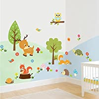 Amaonm® Cute Cartoon Natural Wildlife Wall Decals Forest Animals Wall sticker...