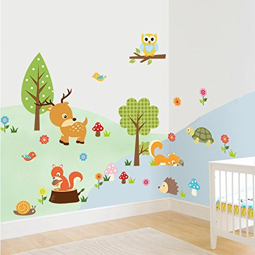 Amaonm Cute Cartoon Natural Wildlife Wall Decals Forest Animals Wall stickers Murals Owls, Deer, Fox Peel & Stick for Baby Children's Playroom Removable DIY Arts Crafts Decor for Nursery ()