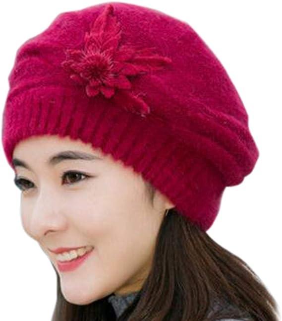 CICIYONER Gorro Invierno Mujer Flor de Punto de Crochet para Mujer ...