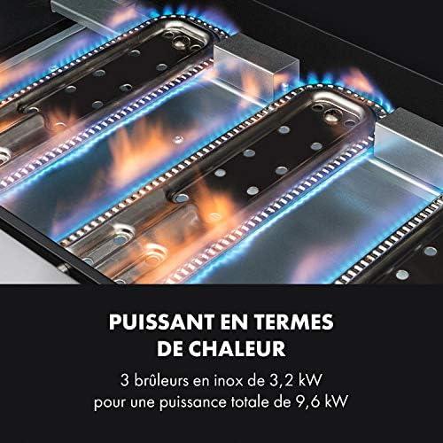 KLARSTEIN Tomahawk 3.0 T - Barbecue à gaz, 3 x brûleurs en INOX de 3,2 KW / 699 g/h, Allumage Piézo intégré, Répartition Uniforme de la Chaleur, Thermomètre intégrée, INOX antirouille